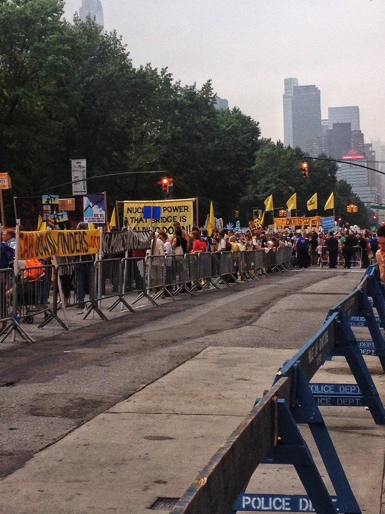 Early in the day, the streets ended up being packed from Columbus Circle up to well past 86th.  Marchers had reached the Javits center (the end) before the tail-end of the march had started moving.