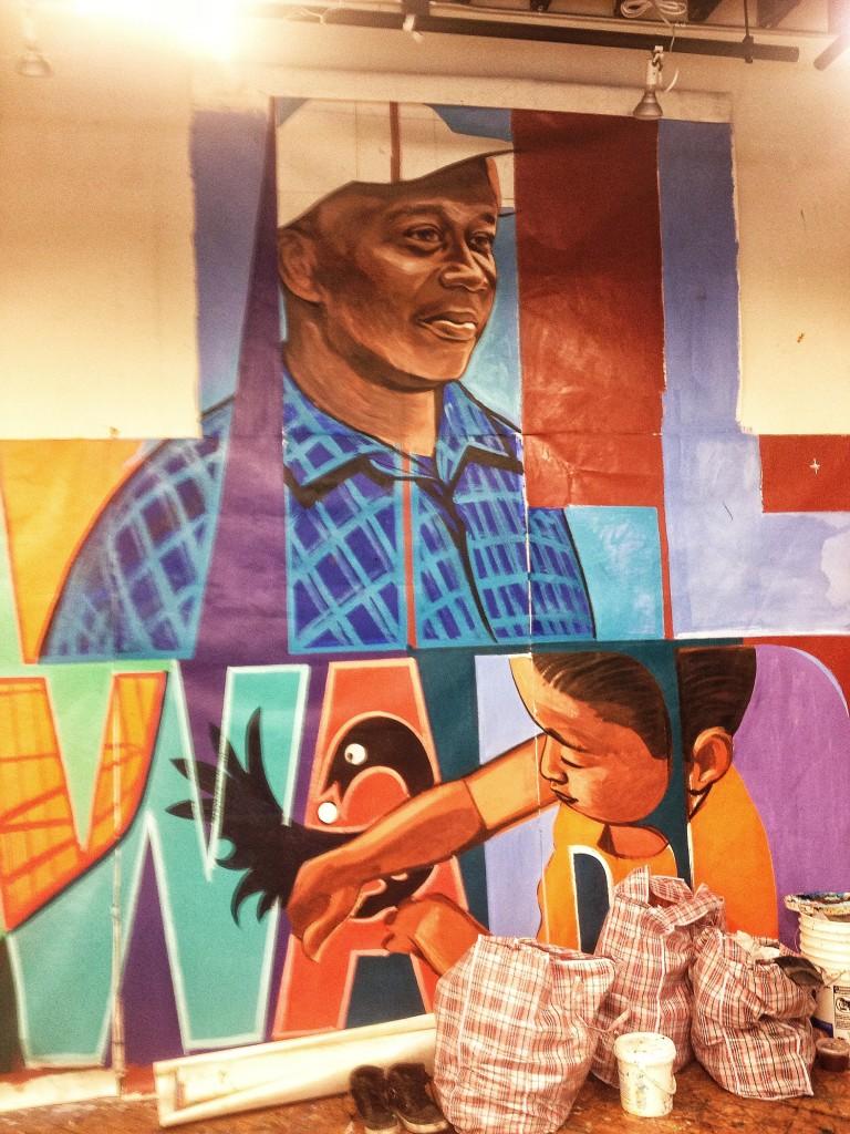 One of the murals in the studio