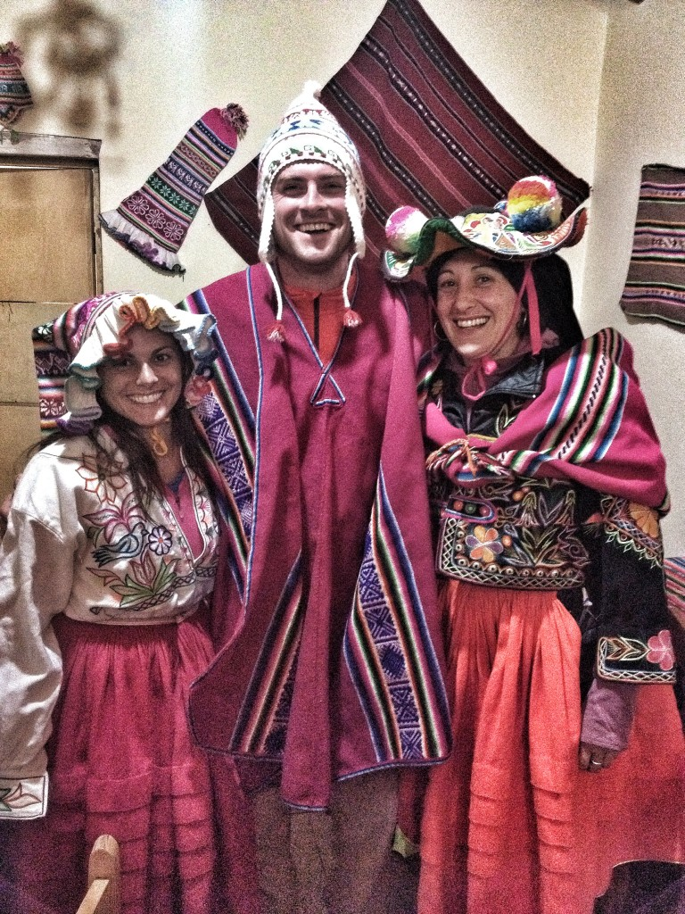 One night, they had all the kids/teachers dress up in traditional outfits.  This is the two teachers and myself - getting ready for a traditional music/dancing party