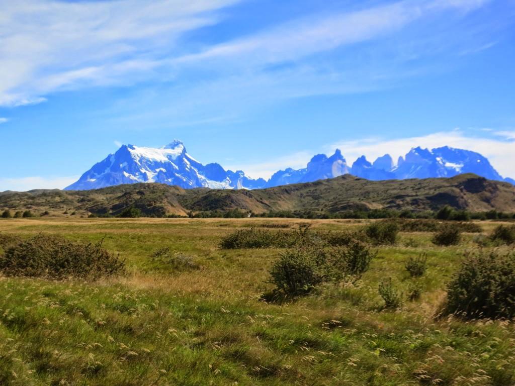 Views of Paine Grande and Los Cuernos on the trek in